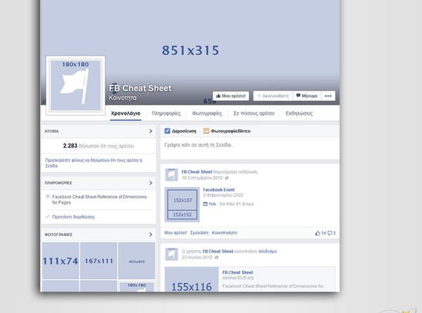 Facebook cheat sheet – Διαστάσεις εικόνων